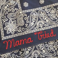 Super soft vintage bandana with your chose of chainstitch embroidered text. Blue bandanas will have red lettering and red bandannas will have black lettering unless otherwise requested. Add your text