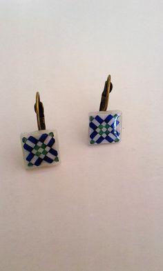 Brincos com motivo de azulejo Português