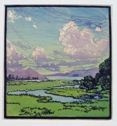 This Joyous World, woodblock print by Frances  Gearhart, 1869-1958, American artist
