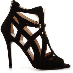 2b bebe Cara Low-Rise Heels featuring polyvore, fashion, shoes, pumps, heels, sapatos, blk, peeptoe pumps, peeptoe shoes, cut out shoes, synthetic shoes and 2b bebe
