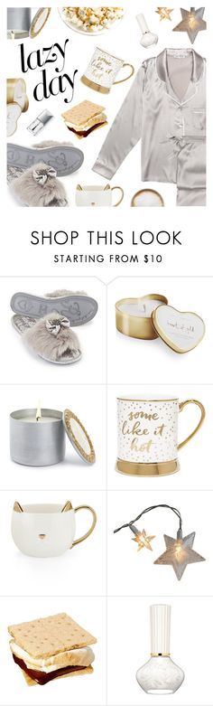 """""""Sleep In: Lazy Day"""" by dressedbyrose ❤ liked on Polyvore featuring Pijama, Katie Loxton, Marigold Artisans, Christian Dior, Caffé, LazyDay, cozy, Home and polyvoreeditorial"""