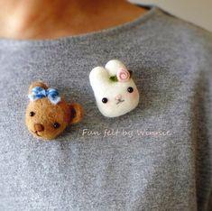 Needle felted 2 pcs set Bunny Rabbit/Teddy Bear Brooches OOAK handmade wool sculpture