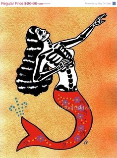SALE Old school Tattoo Mermaid Folk Art Print by illustratedink
