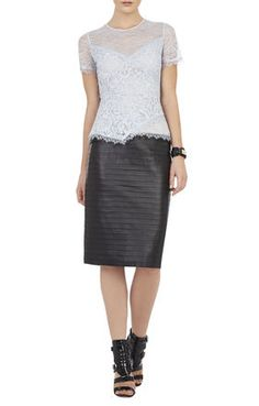 Cindee Short-Sleeve Lace Peplum Top and skirt