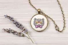 Gray Persian Cat pendant/Cross stitch necklace by YetiPepper on Etsy Cross Stitch Collection, Crochet Cross, Ring Necklace, Hama Beads, Pattern Making, Cross Pendant, Elsa, Monogram, Embroidery