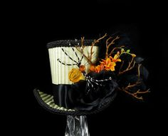 Green Orange and Black Striped Spider Halloween by TheWeeHatter