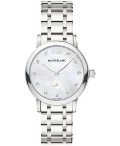 Montblanc Women's Swiss Star Classique Lady Diamond-Accent Stainless Steel Bracelet Watch 30mm 110305
