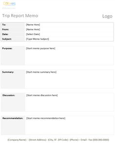 Trip Report Memo Template With a Table Format