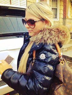 Black fur-hooded Moncler down jacket