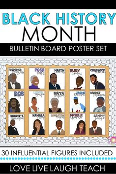 Celebrate Black History Month with this inspiring bulletin board poster display. These posters will create a powerful and memorable display within your elementary school or classroom, while encouraging students to reflect on and recognize the impact each individual has had on our world today! Includes 30 influential figures. Perfect to display during the month of February! Middle School Classroom, Spanish Classroom, Special Education Classroom, High School, Social Studies Lesson Plans, Math Lesson Plans, Classroom Organization, Classroom Decor, English Lesson Plans