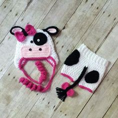 Crochet Baby Cow Hat Diaper Cover Shorts Pants Set Newborn Infant Photography Photo Prop Handmade Baby Shower Gift