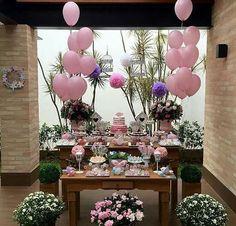 Decoração de mesa com cor rosa