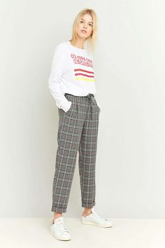 Light Before Dark Tie Front Grey Plaid Trousers €62