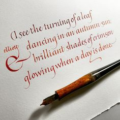Autumnal Quote in an Italic Variation - Kalligrafie letters Calligraphy Writing Styles, Calligraphy Fonts Alphabet, How To Write Calligraphy, Beautiful Calligraphy, Calligraphy Quotes, Penmanship, Cursive, Calligraphy Doodles, Quote Typography