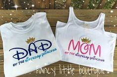 Mom and Dad of the birthday princess shirts by Fancylittleboutique