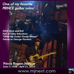 """One of my favorite Prince guitar solos: 2004 Rock and Roll Hall of Fame Inductions performing """"While My Guitar Gently Weeps."""" Rest in peace, Prince.  http://bit.ly/23MaBC8 #Prince #guitar #guitarsweeping"""