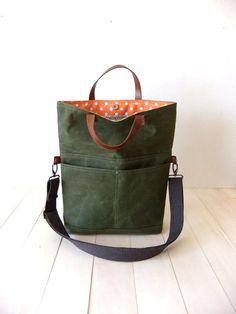 Gewachstem Canvas Foldover Bag - Cabrio Tote - Tasche Messenger Bag - Baumwolle verstellbare Armband - Leder Griffe - wasserdicht - Orange Futter