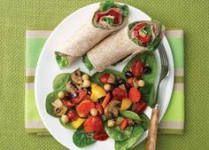These wraps are a quick and easy lunch to pack for the work day. Just pack the olive oil and red wine vinegar together in a separate container and add to the wrap right before eating.
