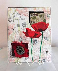 Red Poppy Mixed Media Collage Mixed Media Techniques, Collage Making, Mixed Media Collage, Red Poppies, Artist Canvas, Colored Pencils, Printed Cotton, Poppy, Pretty