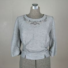 Vintage 1960s Blouse 60s Muted Silver Lurex Knit Top with Beaded Neckline Size L