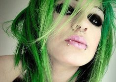 beautiful green punk hair, snakebites & septum piercing