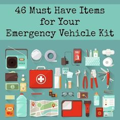 Prepared With An Emergency Car Kit: The Ultimate Car Survival Kit When was the last time you checked the contents of the emergency kit in your car? Here is a list of 46 items for your emergency vehicle kit. Car Survival Kits, Survival Supplies, Emergency Supplies, Survival Prepping, Survival Skills, Survival Gear, Car Emergency Kits, Survival Hacks, Winter Car Emergency Kit