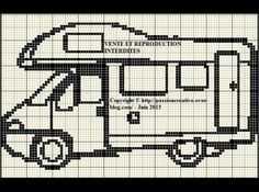 véhicule - camping car - point de croix - cross stitch - Blog : http://broderiemimie44.canalblog.com/