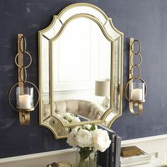 Hearst Antiqued Mirror - Gold 28x40