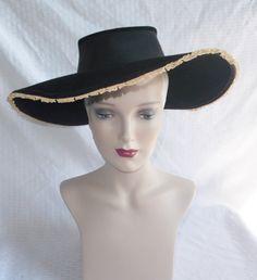 1930's Vintage Black Felt Wide Brim Hat with by MyVintageHatShop