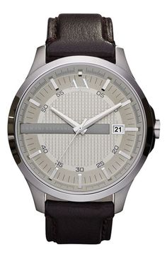 AX Armani Exchange Leather Strap Watch available at #Nordstrom