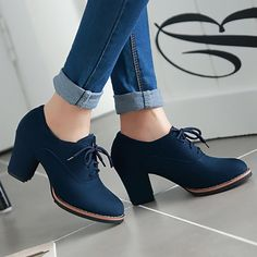 Women Artificial Suede Chunky Heel Oxford Casual Comfort Plus Size Shoes – JustF… - heels classy Business Casual Shoes Women, Business Outfit Damen, Business Shoes, Oxford Shoes Outfit, Tennis Shoes Outfit, Oxford Heels, Heels Outfits, Golf Shoes, Rubber Shoes Outfit Casual