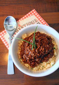Amazing chocolate chilli and cauliflower rice!