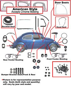 Complete VW Car Rubber Kit, Bug 1966, American Style Window Seals | VW Parts, Volkswagen Parts, VW Bug Parts, VW Bus Parts, VW Beetle Parts $500.00