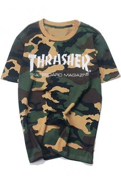 Unisex THRASHER Letter Printed Camouflage Color Block Round Neck Short Sleeve Tee