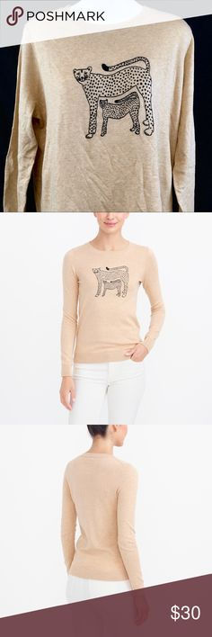 J. CREW Embroidered Cheetah Teddy Sweater XLARGE This tan beige cat sweater is new with tags. There are no flaws or spots on it. J. Crew Factory Sweaters Crew & Scoop Necks