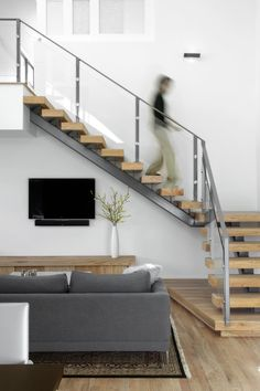 Soft Modern Design, Glass Railing, Open Tread Staircase, Organic Finishes