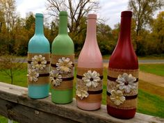 Shabby Chic Vintage Pink Wine Bottle / Rustic by Hinzpirations