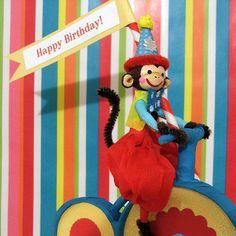 Bike Riding Circus Monkey/Happy Birthday by marileejanedesigns