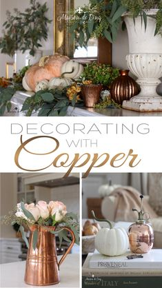 diy fall decor We love the warmth that decorating with copper brings to a space. Learn how to warm up your home by using copper in your fall decor! Fall Home Decor, Autumn Home, Holiday Decor, Copper Decor, Copper Kitchen Decor, Fall Kitchen Decor, Copper Art, Farmhouse Side Table, Autumn Decorating