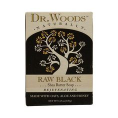 <b> Dr. Woods Naturally Bar Soap Raw Black <b>Description:</b> </b>  <br> Shea Butter Soap <br> Rejuvenating <br> Made with Oats, Aloe and Honey <br> Naturally Exfoliates and Moisturizes <p>This Raw Black Soap with Organic Shea Butter is an exceptional moisturizing exfoliant that's effective on all complexions. Rich in nutrients, Vitamins A and E, the Black Soap helps regenerate skin cells and neutralizes free radicals, restoring your skin's natural elasticity and preventing premature facial…