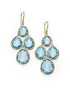 →❤♥…… IPPOLITA - Blue Topaz & 18K Gold Cluster Drop Earrings