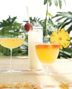 There's no rule that says warm-weather cocktails must be served with tiny umbrellas. We updated tiki-bar faves with unexpected (and tastier) local garnishes, including passion fruit seeds sprinkled into a Passion Fruit French 75, a lychee resting on the rim of a Lychee and St-Germain Fizz, and a round of dried pineapple brightening up a Pineapple Coconut Mai Tai.