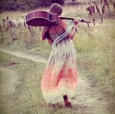 #guitar #hippie #long_skirt