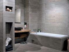 Få en rå baderomsstil med fliser i betong-look fra Provenza! #flisekompaniet