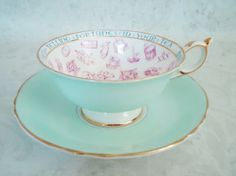 Art Deco Paragon Fortune Telling Teacup and Saucer op Etsy, 239,09 €