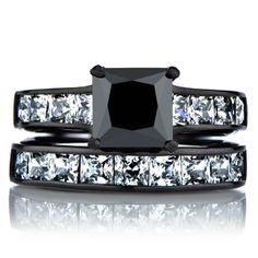 Ellyn's Black Wedding Ring Set