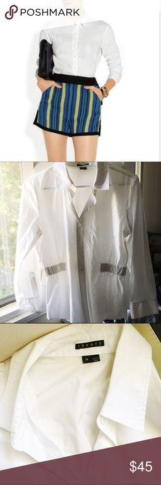 Theory fitted sides white button down shirt Like new bright white Theory button down shirt . Side parts and back is  elastic so fits perfectly. True to size M Theory Tops Button Down Shirts