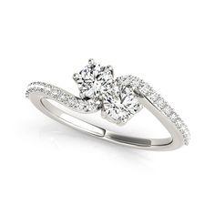 Auriya 14k Gold 1/2ct TDW 2-Stone Round Cut Diamond Ring