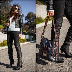 Lily S. - Moto Jacket, Forever 21 Striped Sweater, Tyler Rodan Bag - Fresh Mint
