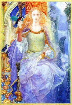 Enchantress by Alan Lee, 1988 (orig. published in Merlin Dreams by Peter Dickinson)